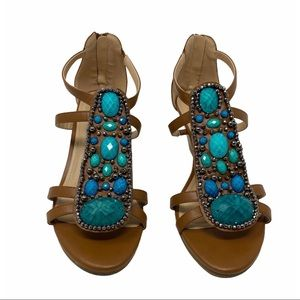 Wedge sandals turquoise jeweled size 9